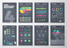 Black infographic templates in brochure style Stock Image