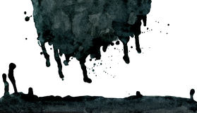 Black ink abstract dripping shape isolated on Stock Photos