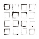 Black Ink Background Grunge Frames Isolated Vectors. A set of 16 original isolated ised grunge background frame borders made from india ink brush strokes. Can be Royalty Free Stock Photos