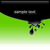 Black ink blot. Vector illustration of black ink blot on green background with copy space. Glossy splash, droplet Royalty Free Stock Photos
