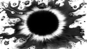 Black ink blot. Black ink drop falls on watercolor paper. Big blot fluids on liquid base. Abstract grunge background. 4K. Closeup vector illustration