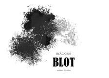 Black ink blot. Isolated on white Stock Photos