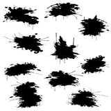 Black ink blots set Royalty Free Stock Images
