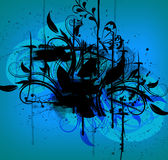 Black ink in blue background Stock Photo