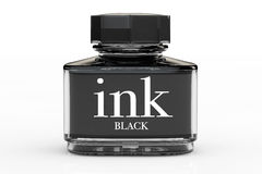 Black Ink Bottle Stock Photo