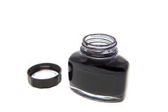 Black ink in bottle. Black ink in the bottle on white background.It's ready to use for everything if you want stock photography