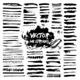 Black Ink Brush Strokes. Vector Grunge Messy Stock Image