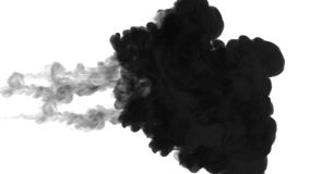 Black ink dissolve in water on white background with luma matte. 3d render of computer simulation. three powerful. Ink dissolves in water on white background royalty free illustration