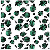 Black ink doodle hand drawn isolated gooseberry seamless pattern on white background. Stock Photos