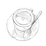 The black ink drawing of coffee cup isolated on white background. Vector illustration. Hand-drawn sketch style Stock Illustration