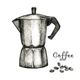 The black ink drawing of coffee maker Stock Photography