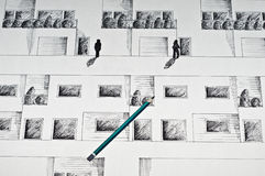 Black ink drawing of an elevation Royalty Free Stock Images