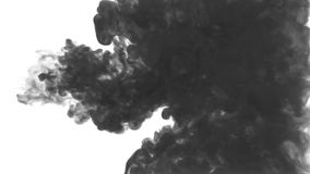 Black ink drop in water on a white background. 3d render. voxel graphics. computer simulation of smoke. Ink distribution. Black ink drop in water on a white stock video footage