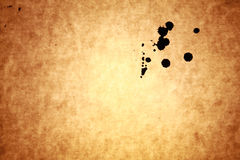 Black ink drops on old paper Royalty Free Stock Image
