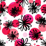 Black ink floral pattern with red and pink spots. Freehand flowers drawing, repeated texture. Seamless vector background for fashion textile, spring summer Stock Photography