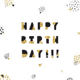 Black ink and gold hand drawn birthday vector greeting card. Royalty Free Stock Images
