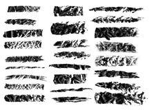 Black ink grunge brush set strokes on white background. stock photos
