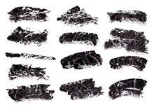 Black ink grunge brush set strokes on white background. royalty free stock photography