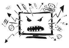Black Ink Grunge Hand Drawing of Cartoon Television or Internet Showing Only Violence and Hatred. Black brush and ink artistic rough hand drawing of cartoon stock illustration