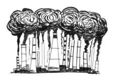 Black Ink Grunge Hand Drawing of Smoking Smokestacks, Concept of Industry or Factory Air Pollution stock photography