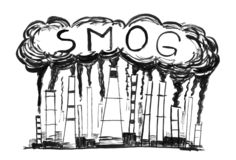 Black Ink Grunge Hand Drawing of Smoking Smokestacks, Concept of Industry or Factory Air Pollution or Smog royalty free stock photo