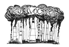 Black Ink Grunge Hand Drawing of Smoking Smokestacks, Concept of Industry or Factory Volatile Organic Compounds Air royalty free stock photo