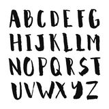 Black ink hand drawn alphabet, capital letters. Stock Photo