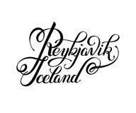 Black ink hand lettering inscription Reykjavik Iceland isolated Stock Photography