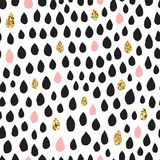 Black ink, pink & gold hand drawn vector seamless drop pattern. Black ink, pink, white and gold glitter hand drawn doodle vector seamless drop pattern Royalty Free Stock Images