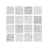 Black ink random shapes hand drawn scribble patterns set Stock Photos