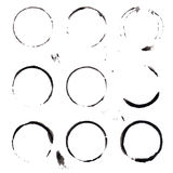 black ink stains set on white background Royalty Free Stock Photography