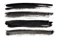 Black ink strokes. Isolated on the white background Stock Photo