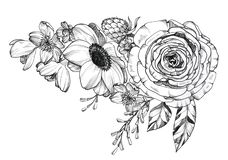 Black Ink Tattoo Hand Drawn Bouquet stock photography