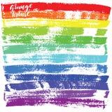 Black ink vector brush strokes. Vector illustration. Grunge rainbow texture. Stock Images