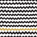 Black ink, white and gold glitter vector seamless zigzag pattern. Black ink, white and gold glitter hand drawn doodle vector seamless zigzag pattern Stock Images
