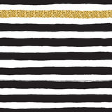 Black ink and white, gold vector seamless fat stripes pattern. Stock Photos