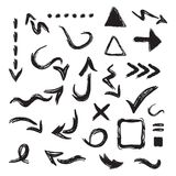 Black inky curvy direction arrows and sign and symbol icons set on white. Black inky curvy direction arrows and sign and symbol icons design element set on white Royalty Free Illustration