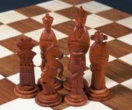 black inställda sned kinesiska stycken för schacket Royaltyfri Fotografi