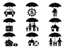 Black insurance icons set with umbrella Stock Photo