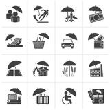 Black insurance, risk and business icons. Vector icon set Royalty Free Stock Photo