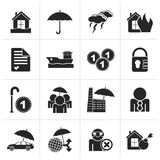 Black Insurance and risk icons. Vector icon set Stock Photos
