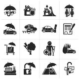 Black Insurance and risk icons. Vector icon set Stock Images