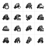 Black Insurance and risk icons. Vector icon set Royalty Free Stock Image