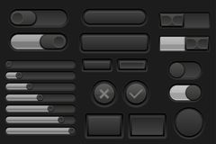 Black interface buttons set. Vector 3d illustration Royalty Free Stock Photography