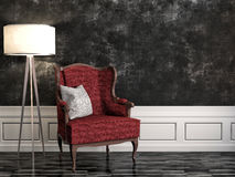 Black interior with chair and lamp. 3d illustration.  Stock Photos