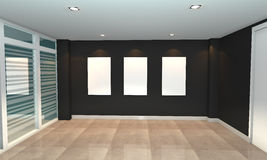 Black interior gallery Royalty Free Stock Photos