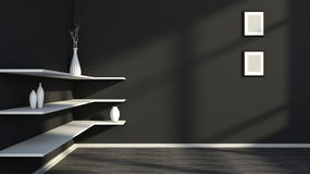 Black interior with white shelf and vases Royalty Free Stock Photos