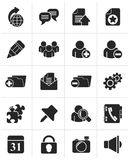 Black Internet blogging icons. Vector icon set Royalty Free Stock Image