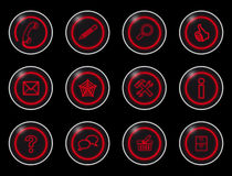 Black internet buttons. Black buttons with red symbols for internet sites Stock Photography