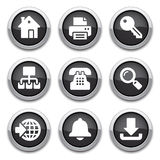 Black internet buttons. With shadows Royalty Free Stock Photography